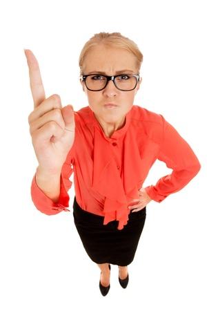Zakenvrouw kwispelen haar vinger Stockfoto