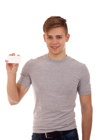 businesscard: Young man holding businesscard Stock Photo