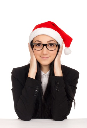 Young woman in santa hat photo