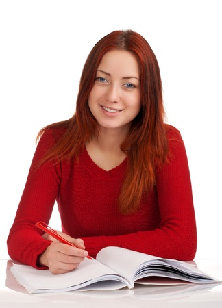 Young female student studying photo