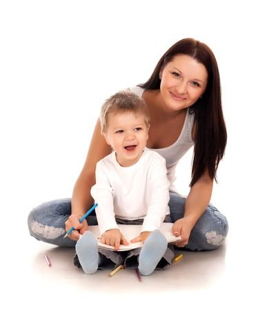 Gelukkige moeder met een kind Stockfoto