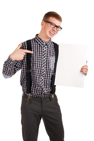 Portrait of a young man with blank board photo