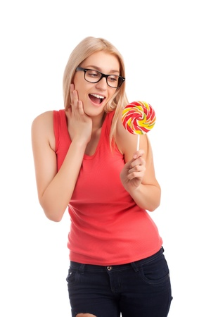 Portrait of surprised girl with big lollipop Stock Photo - 17744380
