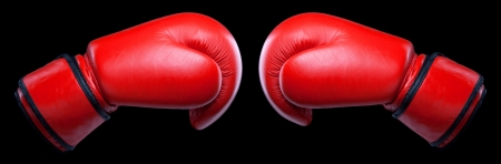 combative: Pair of red leather boxing gloves