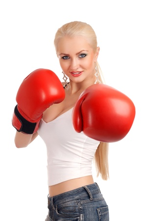 Sexy woman with boxing gloves photo