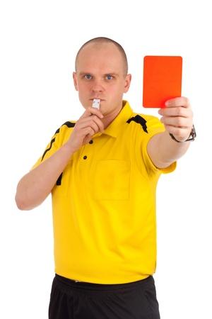 arbitro: Árbitro del balompié que muestra la tarjeta roja