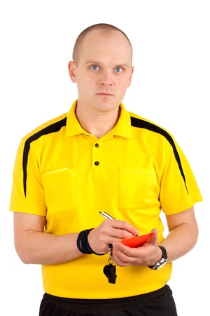 Football referee writing on red card photo