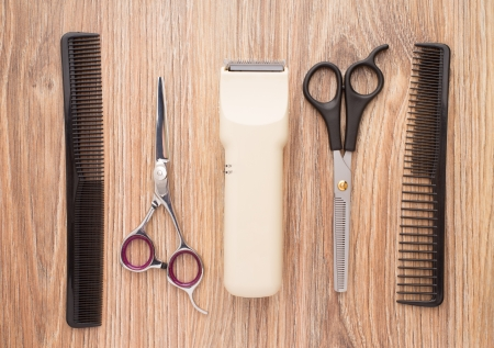 Barber accessories on wooden table Stock Photo - 21075833
