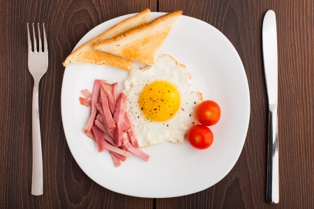Fried egg with toasts, ham and cherry tomato on a plate photo