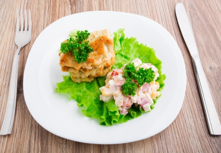Chicken cutlets with salad on a plate with lettuce and parsley Stock Photo - 21768946