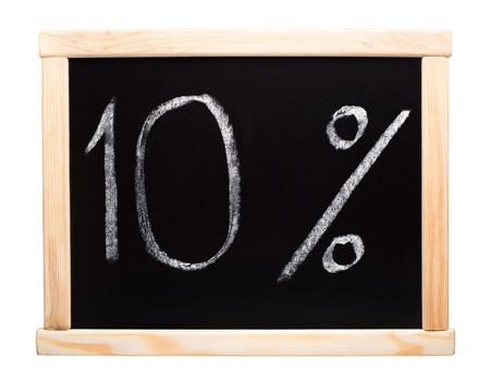 write off: 10 percent written with white chalk on blackboard Stock Photo