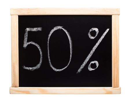 50 percent written with white chalk on blackboard photo