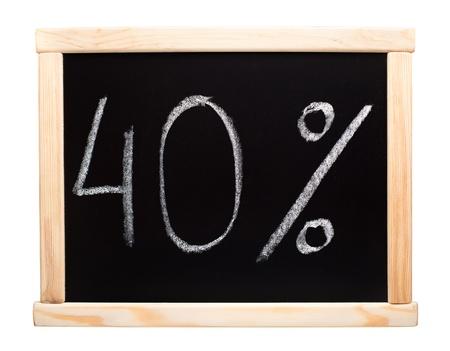 40 percent written with white chalk on blackboard photo