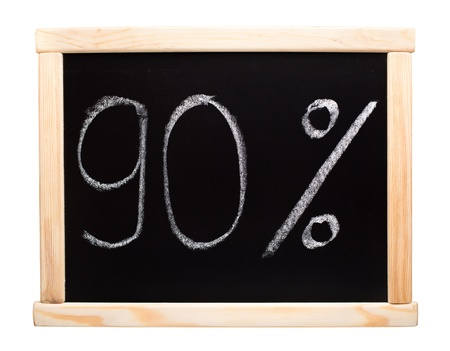 90 percent written with white chalk on blackboard photo