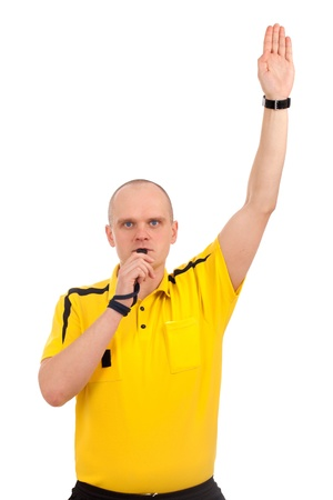 Portrait of a referee. Studio shot over white background. Stock Photo