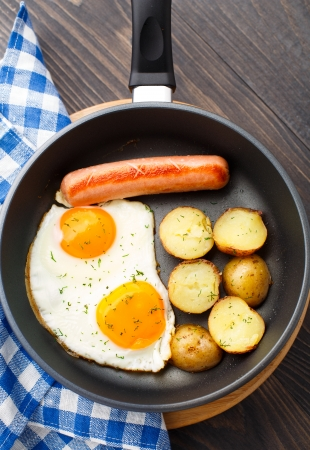 Breakfast with eggs, sausage and potato in a pan photo