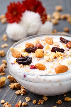 Healthy muesli breakfast, with lots of dry fruits, nuts and grains