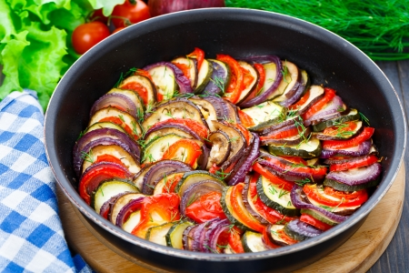 Delicious freshly cooked ratatouille in a pan