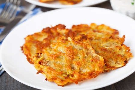 Delicious potato pancakes on a white plate photo