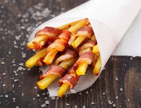 cornet: Bacon wrapped french fries in a paper cornet