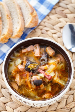 soljanka: Traditional tasty russian Soljanka soup in a bowl Stock Photo