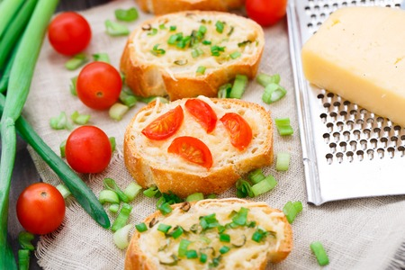 scallion: Delicious bruschetta with cherry tomatoes and scallion