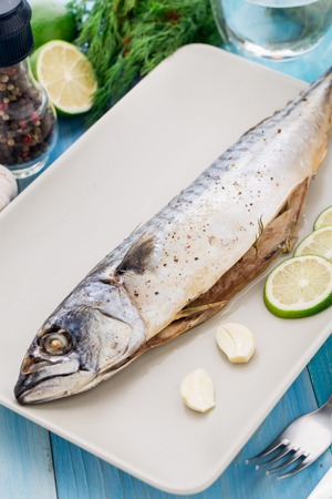 baked: Baked mackerel Stock Photo
