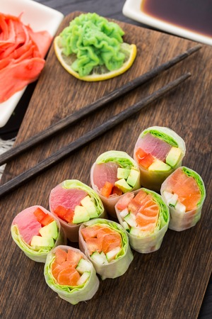 Spring rolls with tuna and salmon Stock Photo