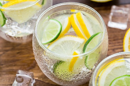 Water glass: Cold fresh lemonade
