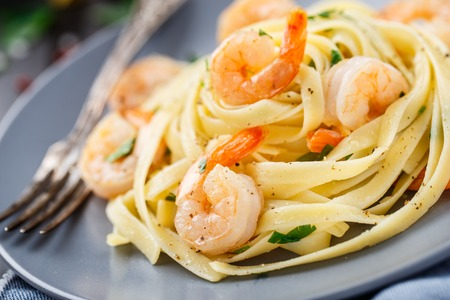 tagliatelle: Tagliatelle with shrimps and parsley