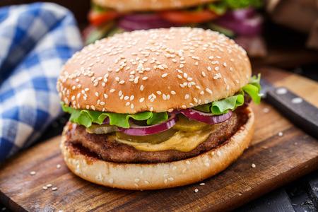 burger: Burger with pork cutlete Stock Photo