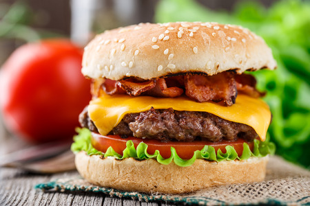 bacon: Bacon burger with beef cutlet Stock Photo