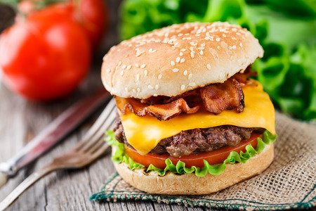 Bacon burger with beef cutlet Stock Photo