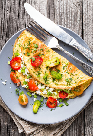 Omelette with vegetables Stock Photo