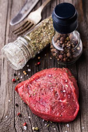 beefsteak: Beefsteak on a wooden board Stock Photo