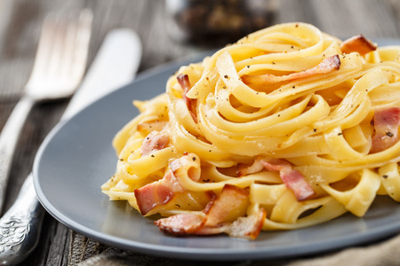 carbonara: Pasta carbonara Stock Photo