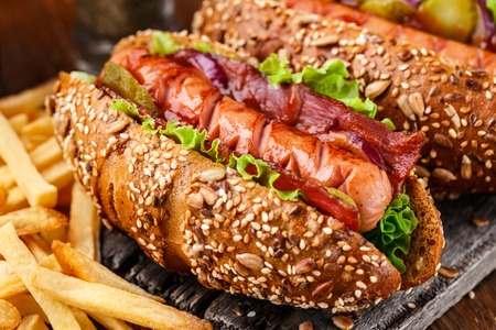 wiener dog: Barbecue grilled hot dog with french fries Stock Photo
