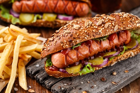 Barbecue grilled hot dog with french fries Stockfoto