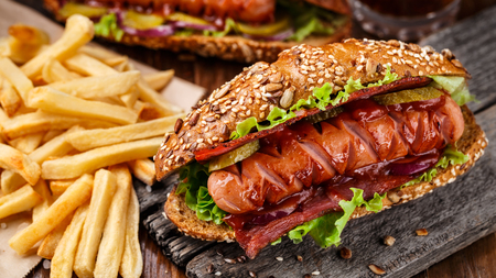 Barbecue grilled hot dog with french fries Stock Photo