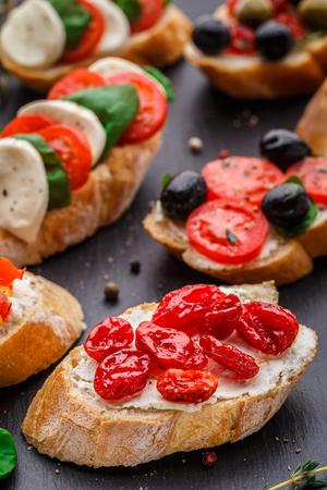 crusty: Italian bruschetta with dried cherry tomatoes on crusty ciabatta bread