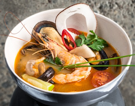 mussle: Tom Yum Goong thai soup