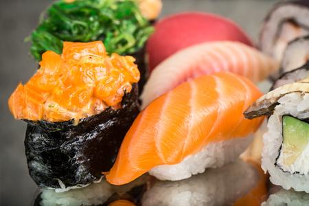 Close up of salmon nirigi and gunkan