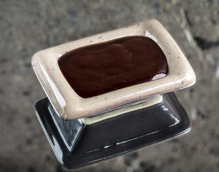 hoisin: Hoisin sauce in a bowl