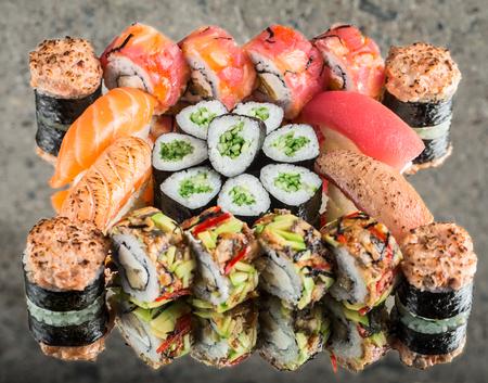 Sushi set on concrete background Stock Photo