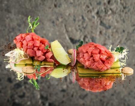 Fresh tuna tartar Stock Photo