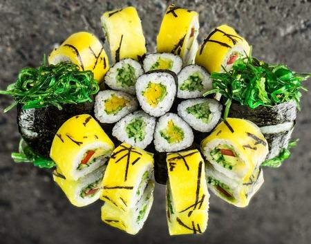 Vegetable rolls and chuka gunkan