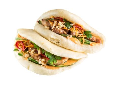 Gua bao with chicken Stock Photo