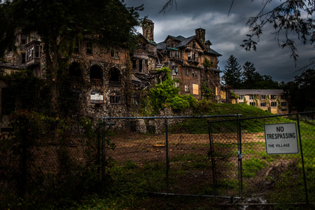Abandoned school for girls Stock Photo