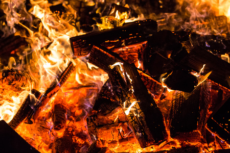Burning Fire wood coal hot Stock Photo