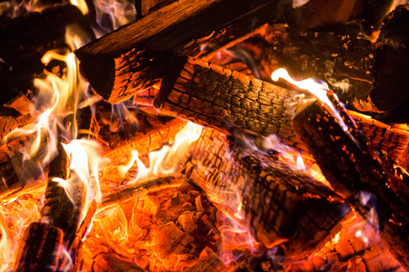 Burning Fire wood coal hot Stock Photo